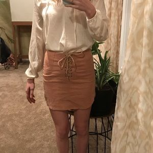 Ribbed corduroy mini skirt with lace up front
